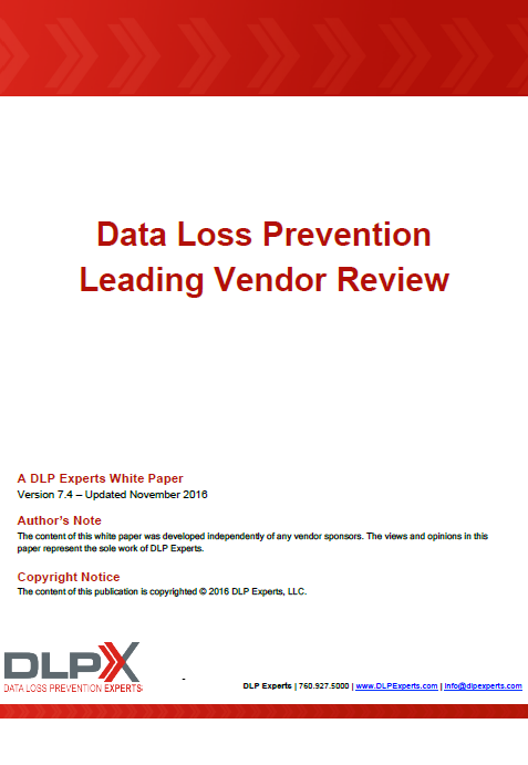 DLP Experts Data Loss Prevention Leading Vendor Review Q4 2016